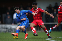 Jason Road of Aveley and Rickie Hayles of Hornchurch during Hornchurch vs Aveley, Buildbase FA Trophy Football at Hornchurch Stadium on 11th January 2020