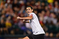 Portland Thorns forward Christine Sinclair (12) watches her shot go in the goal. The Portland Thorns defeated the Western New York Flash 2-0 during the National Women's Soccer League (NWSL) finals at Sahlen's Stadium in Rochester, NY, on August 31, 2013.