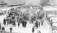 BNPS.co.uk (01202 558833)<br /> Pic: ShaftesburyHistoricalSociety/BNPS<br /> <br /> Pictured: A bustling Shaftesbury cattle market  at the turn of the 20th century<br /> <br /> These charming photos reveal everyday life at the turn of the 20th century in a thriving market town later made famous by a TV advert.<br /> <br /> The black and white snapshots of Shaftesbury, Dorset, were taken by Albert Tyler who set up a photography business there in 1901.<br /> <br /> There are various street scenes and also images of the locals in traditional attire, with men in flatcaps and women in bonnets.<br /> <br /> Tyler photographed the busy opening of the town market in 1902, and a garden party where men played croquet.