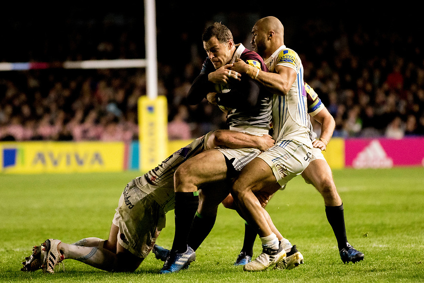 Harlequins' Tim Visser in action during todays match<br /> <br /> Photographer Bob Bradford/CameraSport<br /> <br /> Aviva Premiership Round 20 - Harlequins v Exeter Chiefs - Friday 14th April 2016 - The Stoop - London<br /> <br /> World Copyright &copy; 2017 CameraSport. All rights reserved. 43 Linden Ave. Countesthorpe. Leicester. England. LE8 5PG - Tel: +44 (0) 116 277 4147 - admin@camerasport.com - www.camerasport.com