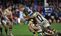 Dominic Day of Bath Rugby takes on the Wasps defence. Aviva Premiership match, between Bath Rugby and Wasps on February 20, 2016 at the Recreation Ground in Bath, England. Photo by: Patrick Khachfe / Onside Images