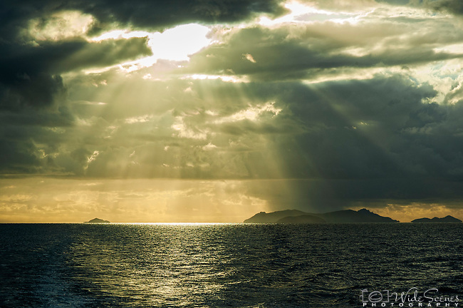 Rays of light over the Mamanuca Islands in Fiji