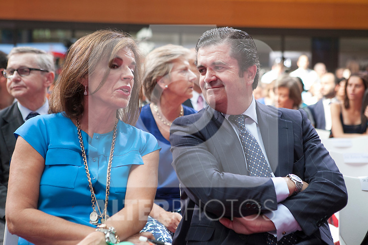 Ana Botella and Endesa´s President Borja Prado during the official presentation of Spain´s basketball team for the 2014 Spain Basketball Championship in Madrid, Spain. July 24, 2014. (ALTERPHOTOS/Victor Blanco)