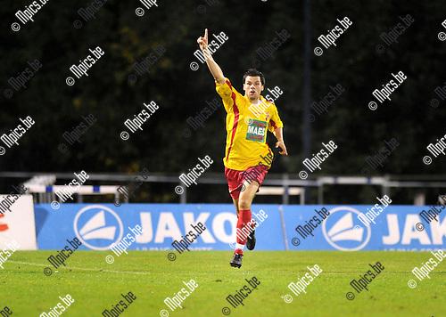 2011-09-01 / Voetbal / seizoen 2011-2012 / KV Turnhout - SV Bornem / Nick de Groote viert zijn doelpunt..Foto: Mpics