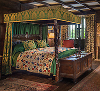 BNPS.co.uk (01202 558833)<br /> Pic: Dukes/BNPS<br /> <br /> Two oak four poster beds - one from the time of Henry VIII (PICTURED) and one from Charles I - sold for a combined fee of over £80,000.<br /> <br /> A grand country house is bracing itself for a huge influx of international visitors as its contents of antiques, furniture and paintings go on display ahead of an everything-must-go sale.<br /> <br /> The auction of a myriad of treasures inside Athelhampton House in Dorset, which is expected to raise over £1million, is being hailed as one of the best country house sales for a generation. <br /> <br /> The doors of the £7m Tudor mansion will be thrown open to visitors and potential bidders for four days from tomorrow (Sat).