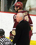 Jerry York (BC - Head Coach), Carl Sneep (BC - 7) - The Boston College Eagles defeated the Harvard University Crimson 3-2 on Wednesday, December 9, 2009, at Bright Hockey Center in Cambridge, Massachusetts.