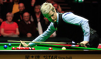 Neil Robertson keeps an eye on where the cue ball lands up during the Dafabet Masters Quarter Final 2 match between Judd Trump and Neil Robertson at Alexandra Palace, London, England on 15 January 2016. Photo by Liam Smith / PRiME Media Images.