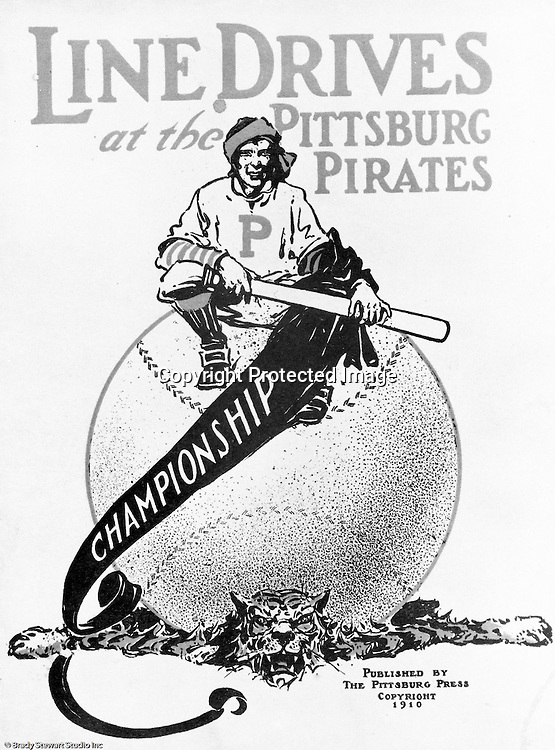 Pittsburgh PA:  View of an advertisement in the Pittsburg Post Gazette illustrating the Pittsburg Pirates crushing the Detroit Tigers.  It wasn't really a crush... the Pirates won the series in 7 games.