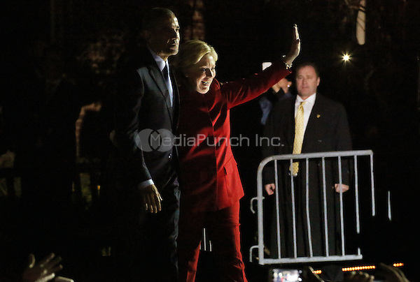 PHILADELPHIA, PA - NOVEMBER 7: Hillary Clinton and President Barack Obama at the GOTV Rally in support of Hillary Clinton for President at Independence Mall in Philadelphia, Pennsylvania on November 7, 2016. Credit: Star Shooter/MediaPunch