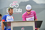 Maglia Ciclamino Arnaud Demare (FRA) and Groupama-FDJ at sign on before the start of Stage 14 of the 2019 Giro d'Italia, running 131km from Saint-Vincent to Courmayeur (Skyway Monte Bianco), Italy. 25th May 2019<br /> Picture: Gian Mattia D'Alberto/LaPresse | Cyclefile<br /> <br /> All photos usage must carry mandatory copyright credit (© Cyclefile | Gian Mattia D'Alberto/LaPresse)
