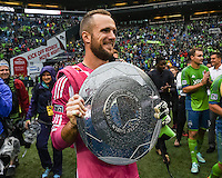 Seattle, Washington - October 25,  2014: Seattle Sounders FC defeated the LA Galaxy 2-0 to win the Supporter's Shield award in Major League Soccer action at CenturyLink Field.
