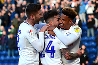 Preston North End's Callum Robinson celebrates scoring his side's fourth goal with team-mates Paul Gallagher and  Sean Maguire<br /> <br /> Photographer Richard Martin-Roberts/CameraSport<br /> <br /> The EFL Sky Bet Championship - Preston North End v Wigan Athletic - Saturday 6th October 2018 - Deepdale Stadium - Preston<br /> <br /> World Copyright &not;&copy; 2018 CameraSport. All rights reserved. 43 Linden Ave. Countesthorpe. Leicester. England. LE8 5PG - Tel: +44 (0) 116 277 4147 - admin@camerasport.com - www.camerasport.com