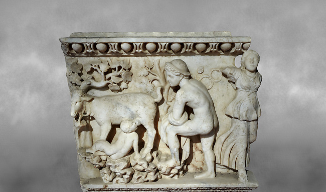 Roman relief sculpture of the Dionysus and Pan. Roman 2nd century AD, Laodicea. Hierapolis Archaeology Museum, Turkey