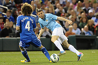 James Milner, Manchester City passes the ball past David Luiz..Manchester City defeated Chelsea 4-3 in an international friendly at Busch Stadium, St Louis, Missouri.