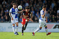 Bristol Rovers' Dom Telford vies for possession with Blackburn Rovers' Derrick Williams<br /> <br /> Photographer Ashley Crowden/CameraSport<br /> <br /> The EFL Sky Bet League One - Bristol Rovers v Blackburn Rovers - Saturday 14th April 2018 - Memorial Stadium - Bristol<br /> <br /> World Copyright &copy; 2018 CameraSport. All rights reserved. 43 Linden Ave. Countesthorpe. Leicester. England. LE8 5PG - Tel: +44 (0) 116 277 4147 - admin@camerasport.com - www.camerasport.com