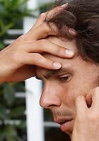 Lo spagnolo Rafael Nadal si rilassa durante una pausa degli Internazionali d'Italia di tennis a Roma, 10 maggio 2016.<br /> Spain's Rafael Nadal relaxes at the Italian Open tennis tournament, in Rome, 10 May 2016.<br /> UPDATE IMAGES PRESS/Isabella Bonotto