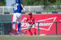 Cincinnati Reds shortstop Miguel Hernandez (90) prepares to catch a ball on a stolen base attempt by Anderson Miller (15) during an Instructional League game against the Kansas City Royals on October 2, 2017 at Surprise Stadium in Surprise, Arizona. (Zachary Lucy/Four Seam Images)
