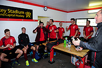 The champagne is popped in the Hutt United dressing room after the Wellington premier men's hockey final between Dalefield and Hutt United at The National Hockey Stadium, Wellington, New Zealand on Saturday, 11 August 2018. Photo: Dave Lintott / lintottphoto.co.nz