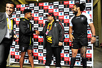 The team captains prepare to take the coin toss before the 2017 Rugby League World Cup quarterfinal match between New Zealand Kiwis and Fiji at Wellington Regional Stadium in Wellington, New Zealand on Saturday, 18 November 2017. Photo: Dave Lintott / lintottphoto.co.nz