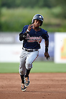 Jalen Miller (1) of Riverwood High School in Atlanta, Georgia playing for the Atlanta Braves scout team during the East Coast Pro Showcase on August 1, 2014 at NBT Bank Stadium in Syracuse, New York.  (Mike Janes/Four Seam Images)