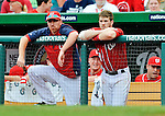 2 September 2012: Washington Nationals' first baseman Adam LaRoche (left) and rookie outfielder Bryce Harper (right) watch play rom the dugout during a game against the St. Louis Cardinals at Nationals Park in Washington, DC. The Nationals edged out the visiting Cardinals 4-3, capping their 4-game series with three wins. Mandatory Credit: Ed Wolfstein Photo