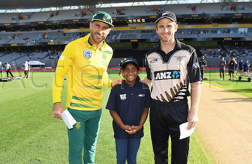 February 17th 2017,  Captains Kane Williamson and Faf du Plessis at the coin toss with the ANZ coin toss winner.<br /> International Twenty20 Cricket. New Zealand Black Caps v South Africa, Eden Park, Auckland, New Zealand. Friday 17 February 2017