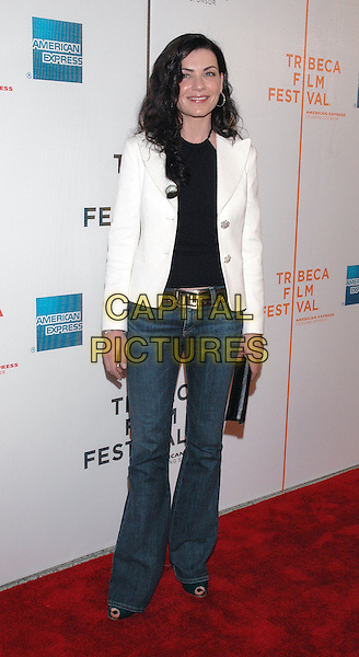 "JULIANNA MARGULIES.Attends the premiere of the new film, ""Slingshot"",  at the Tribeca Film Festival in downtown Manhattan, New York, USA, 26th April 2005..full length white jacket jeans.Ref: ADM.www.capitalpictures.com.sales@capitalpictures.com.©Patti Ouderkirk/AdMedia/Capital Picture."