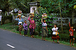 Women going to Festival, Bali, Indonesia, Asia, photo bali213, Photo Copyright:  Lee Foster, www.fostertravel.com, 510-549-2202, lee@fostertravel.com, attraction, joy, enjoyment, excitement, inspiring, leisure, colorful, women, children, walking, goods, craft, participants, scenic, native, islanders, horizontal