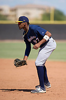 Milwaukee Brewers first baseman Ernesto Wilson Martinez (97) during an Instructional League game against the San Diego Padres on September 27, 2017 at Peoria Sports Complex in Peoria, Arizona. (Zachary Lucy/Four Seam Images)