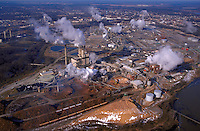 Aerial view of chemical Plants and other industries along the James River at Hopewell, Virginia. Environment, Industry, Pollution. Hopewell Virginia USA.