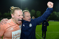 20190430 - OOSTAKKER , BELGIUM : Anderlecht's head coach Patrick Wachel and Ella Van Kerkhoven (left) pictured celebrating after winning the game and the championship after a womensoccer game between  AA Gent Ladies and RSC Anderlecht Dames  , during play-off 1 in the Belgian Women's Superleague, at the PGB Stadium in Oostakker , tuesday 30 th April 2019 . PHOTO SPORTPIX.BE | DAVID CATRY