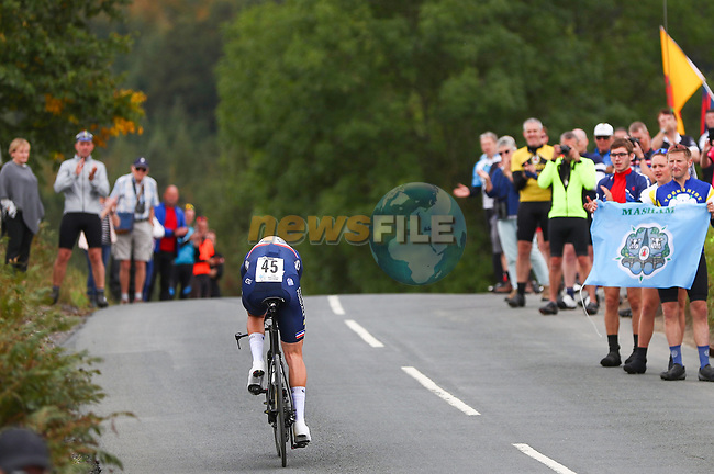 Pierre Latour of France in action during the Men Elite Individual Time Trial of the UCI World Championships 2019 running 54km from Northallerton to Harrogate, England. 25th September 2019.<br /> Picture: Alex Whitehead/SWpix.com   Cyclefile<br /> <br /> All photos usage must carry mandatory copyright credit (© Cyclefile   Alex Whitehead/SWpix.com)