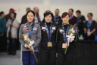 SPEEDSKATING: SALT LAKE CITY: 08-12-2017, Utah Olympic Oval, ISU World Cup, Podium 500m Ladies, Sang-Hwa Lee (KOR), Nao Kodaira (JPN), Arisa Go (JPN), ©photo Martin de Jong