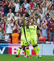 Exeter's David Wheeler celebrating his goal during the Sky Bet League 2 PLAY OFF FINAL match between Exeter City and Blackpool at Wembley Stadium, London, England on 28 May 2017. Photo by Andrew Aleksiejczuk.