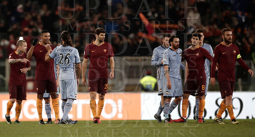 Calcio, ottavi di finale di Tim Cup: Roma vs Sampdoria. Roma, stadio Olimpico, 19 gennaio 2017.<br /> Roma and Sampdoria players leave the pitch at the end of the Italian Cup round of 16 football match between Roma and Sampdoria at Rome's Olympic stadium, 19 January 2017. Roma won 4-0 to join the quarter finals.<br /> UPDATE IMAGES PRESS/Isabella Bonotto
