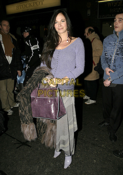 "CAROLE CAPLIN.""Whose LIfe is it Anyway?"" VIP Opening Night, Comedy Theatre, London, January 26th 2005..full length blue lilac cardigan long dangly purple glass bead earrings carol  purple birkin style bag.Ref: AH.www.capitalpictures.com.sales@capitalpictures.com.©Capital Pictures."