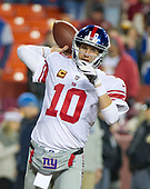 New York Giants quarterback Eli Manning (10) warms-up prior to the game against the Washington Redskins at FedEx Field in Landover, Maryland on Thursday, November 23, 2017.<br /> Credit: Ron Sachs / CNP<br /> (RESTRICTION: NO New York or New Jersey Newspapers or newspapers within a 75 mile radius of New York City)