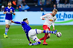 16.03.2019, VELTINS Arena, Gelsenkirchen, Deutschland, GER, 1. FBL, FC Schalke 04 vs. RB Leipzig<br /> <br /> DFL REGULATIONS PROHIBIT ANY USE OF PHOTOGRAPHS AS IMAGE SEQUENCES AND/OR QUASI-VIDEO.<br /> <br /> im Bild Zweikampf zwischen Suat Serdar (#8 Schalke) und Konrad Laimer (#27 Leipzig)<br /> <br /> Foto © nordphoto / Kurth