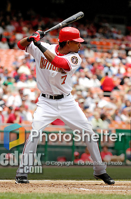 17 May 2007: Washington Nationals outfielder Nook Logan in action against the Atlanta Braves at RFK Stadium in Washington, DC. The Nationals defeated the Braves 4-3 to take the four-game series three games to one...Mandatory Photo Credit: Ed Wolfstein Photo