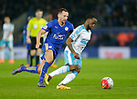 Vurnon Anita of Newcastle competes with Danny Drinkwater of Leicester City during the Barclays Premier League match at The King Power Stadium.  Photo credit should read: Malcolm Couzens/Sportimage