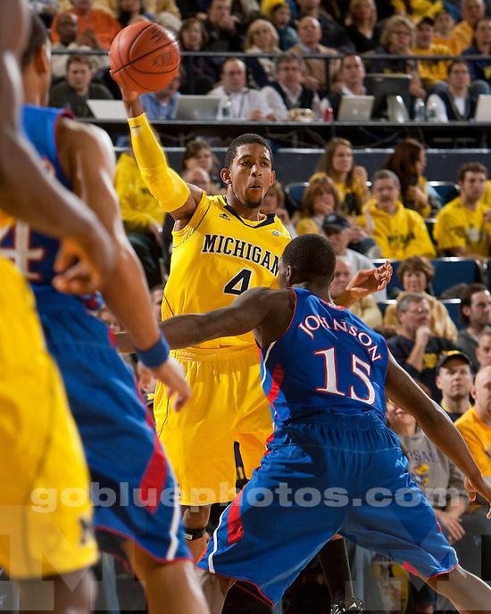 University of Michigan men's basketball 67-60 overtime loss to #3 Kansas at Crisler Arena in Ann Arbor, MI, on January 9, 2011.