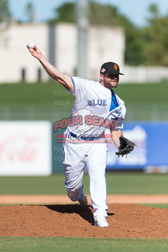 Surprise Saguaros relief pitcher Jackson McClelland (31), of the Toronto Blue Jays organization, delivers a pitch during an Arizona Fall League game against the Peoria Javelinas at Surprise Stadium on October 17, 2018 in Surprise, Arizona. (Zachary Lucy/Four Seam Images)