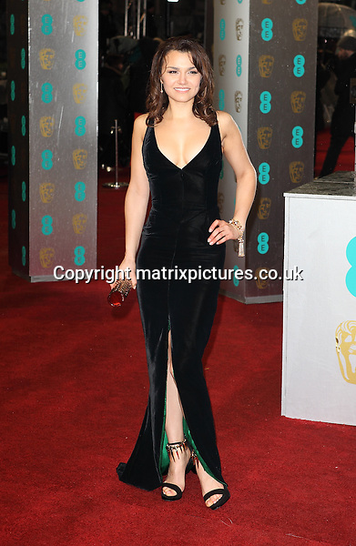 NON EXCLUSIVE PICTURE: MATRIXPICTURES.CO.UK.PLEASE CREDIT ALL USES..WORLD RIGHTS..Manx singer and actress Samantha Barks is pictured arriving on the red carpet at the Royal Opera House for the 2013 British Academy of Film and Television Arts in London today...FEBRUARY 11th 2013..REF: GBH 13988