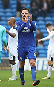 30th September 2017, Cardiff City Stadium, Cardiff, Wales; EFL Championship football, Cardiff City versus Derby County; Sean Morrison (C) of Cardiff City applauds fans after the final whistle