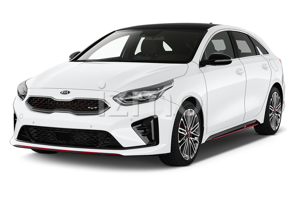 2019 KIA Proceed GT 5 Door Wagon Angular Front stock photos of front three quarter view