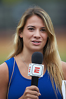 Hailey Brooke McFadden reports from the field for ACC Network Extra during the ACC baseball game between the Miami Hurricanes and the Wake Forest Demon Deacons at David F. Couch Ballpark on May 11, 2019 in  Winston-Salem, North Carolina. The Hurricanes defeated the Demon Deacons 8-4. (Brian Westerholt/Four Seam Images)