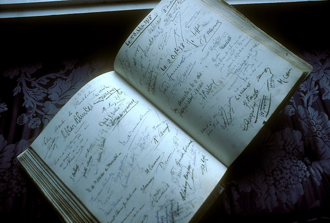 Guest book at Chateau Mouton Rothschild in Bordeaux region of France