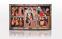 "The Romanesque Altar Front of Avia<br /> <br /> Around 1200, Tempera on wood with metalic ornamention from the church of Santa Maria d'Avia, Spain.<br /> <br /> National Art Museum of Catalonia, Barcelona. MNAC 15784<br /> <br /> <br /> The altar front of Byzantine art d'Avia depicting scenes from the life of the Virgin Mary and the nativity. The artistic style of the Altar front relies heavily of Byzantine influences. The intensity and variety of colors and the systematic application of appliqué are typical of eastern Mediterranean and Byzantine art . This can also be seen in the style and hand positions of the Virgin Mary and child, at the centre of the altar piece, which copies a style known as ""Our Lady of the Way"" which in turn minics the orthodox icon ""the Virgin Hodegetria""."