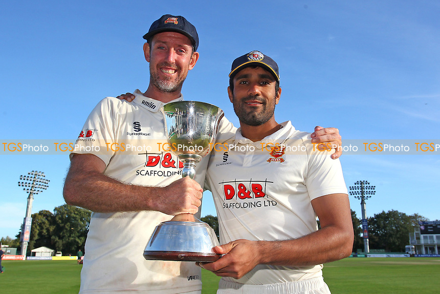 David Masters (L) and Ravi Bopara of Essex with the Division Two Championship Trophy during Kent CCC vs Essex CCC, Specsavers County Championship Division 2 Cricket at the St Lawrence Ground on 23rd September 2016