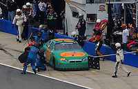 Apr 26, 2008; Talladega, AL, USA; NASCAR Nationwide Series driver Morgan Shepherd pits during the Aarons 312 at the Talladega Superspeedway. Mandatory Credit: Mark J. Rebilas-